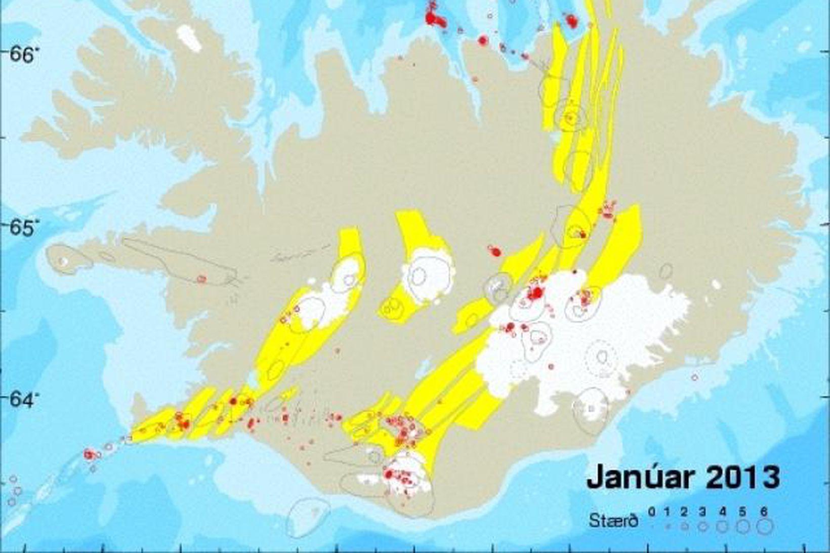 Upptök jarðskjálfta á Íslandi í janúar 2013. Rauðir hringir tákna …