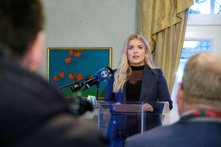 Justice Minister Áslaug Arna Sigurbjörnsdóttir, at the press conference yesterday.