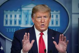 Trump segir völd sín algjör þegar kemur að því að aflétta þeim takmörkunum sem eru …