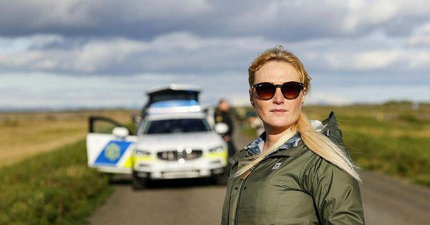 Sandra Brá Jóhannsdóttir, sveitastjóri Skaftárhrepps, flaug yfir Skaftárhlaup í dag.