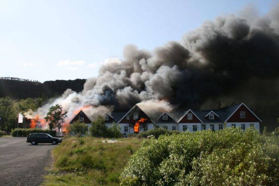 Eldsvoði að Hótel Valhöll