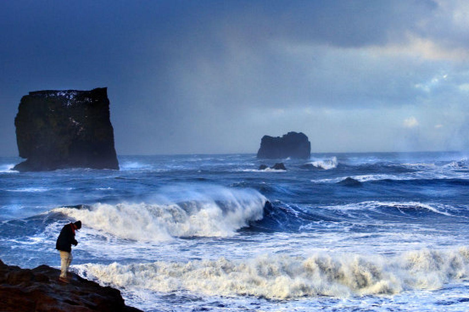 Mannhæðarháar öldur í brimrótinu við Dyrhólaey.