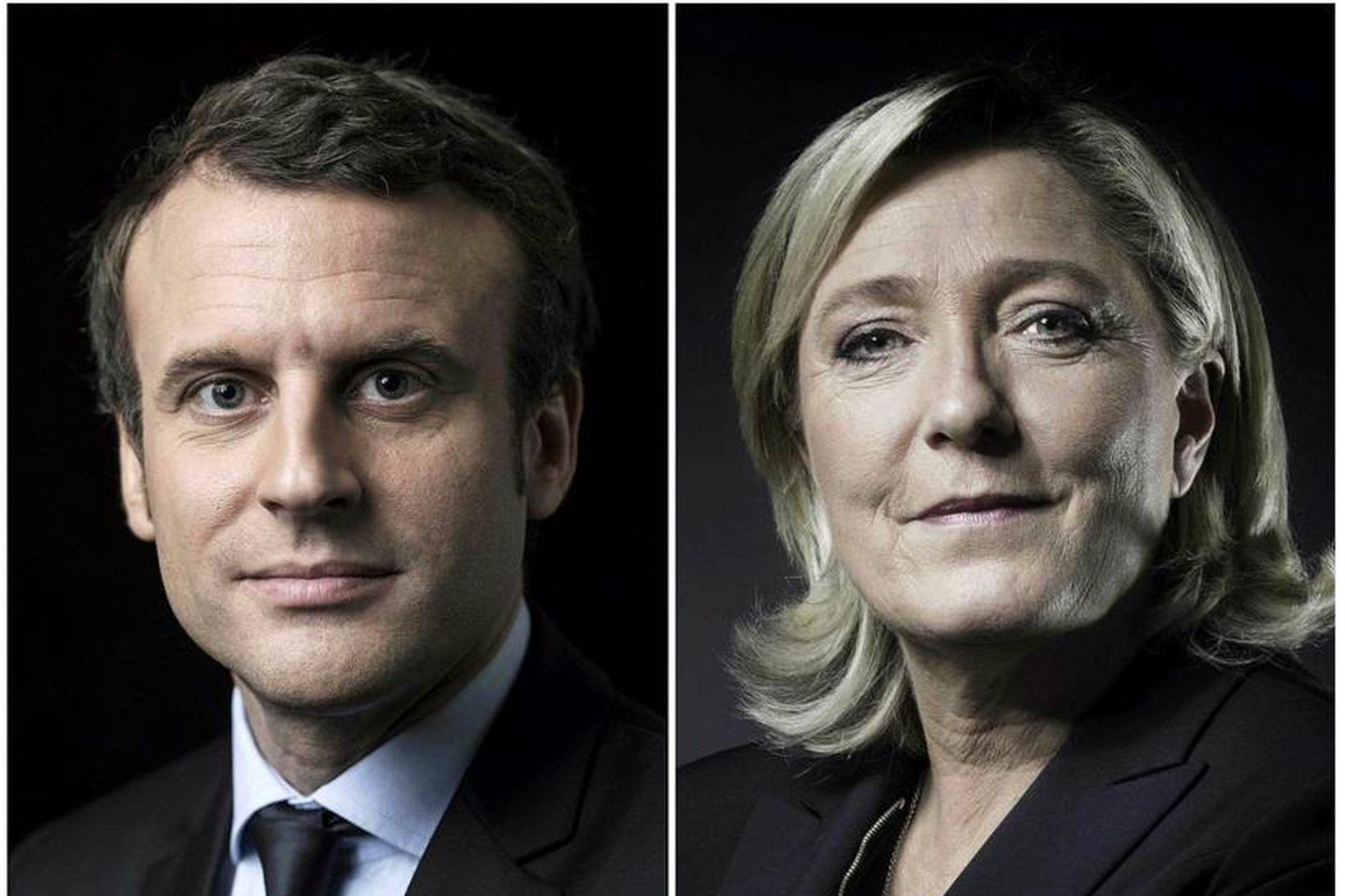 Emmanuel Macron og Marine Le Pen.