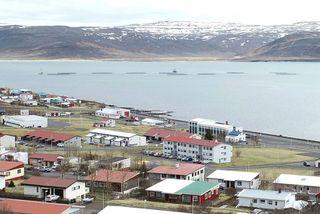 Sjókvíar skammt undan landi við Patreksfjörð.