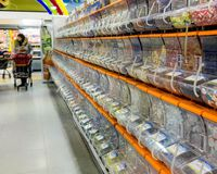 Sweet racks at an Icelandic supermarket, extremely popular with Icelandic children.