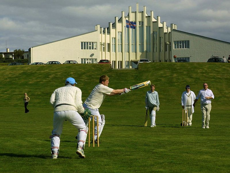 Icelandic cricket players practicing in Hafnarfjörður, Iceland.