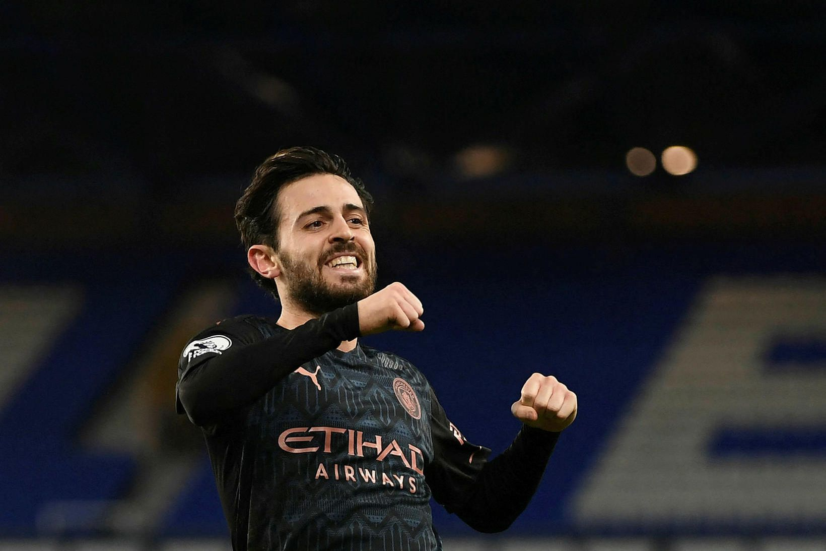Bernardo Silva fagnar þriðja marki Manchester City í kvöld.
