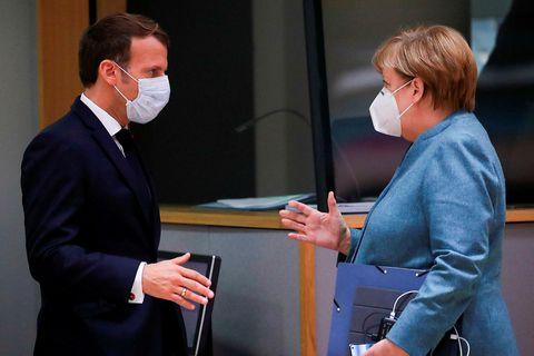 Emmanuel Macron Frakklandsforseti og Angela Merkel kanslari Þýskalands eru samstíga.