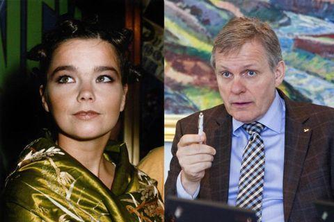 Björk Guðmundsdóttir and Jón Gunnarsson.
