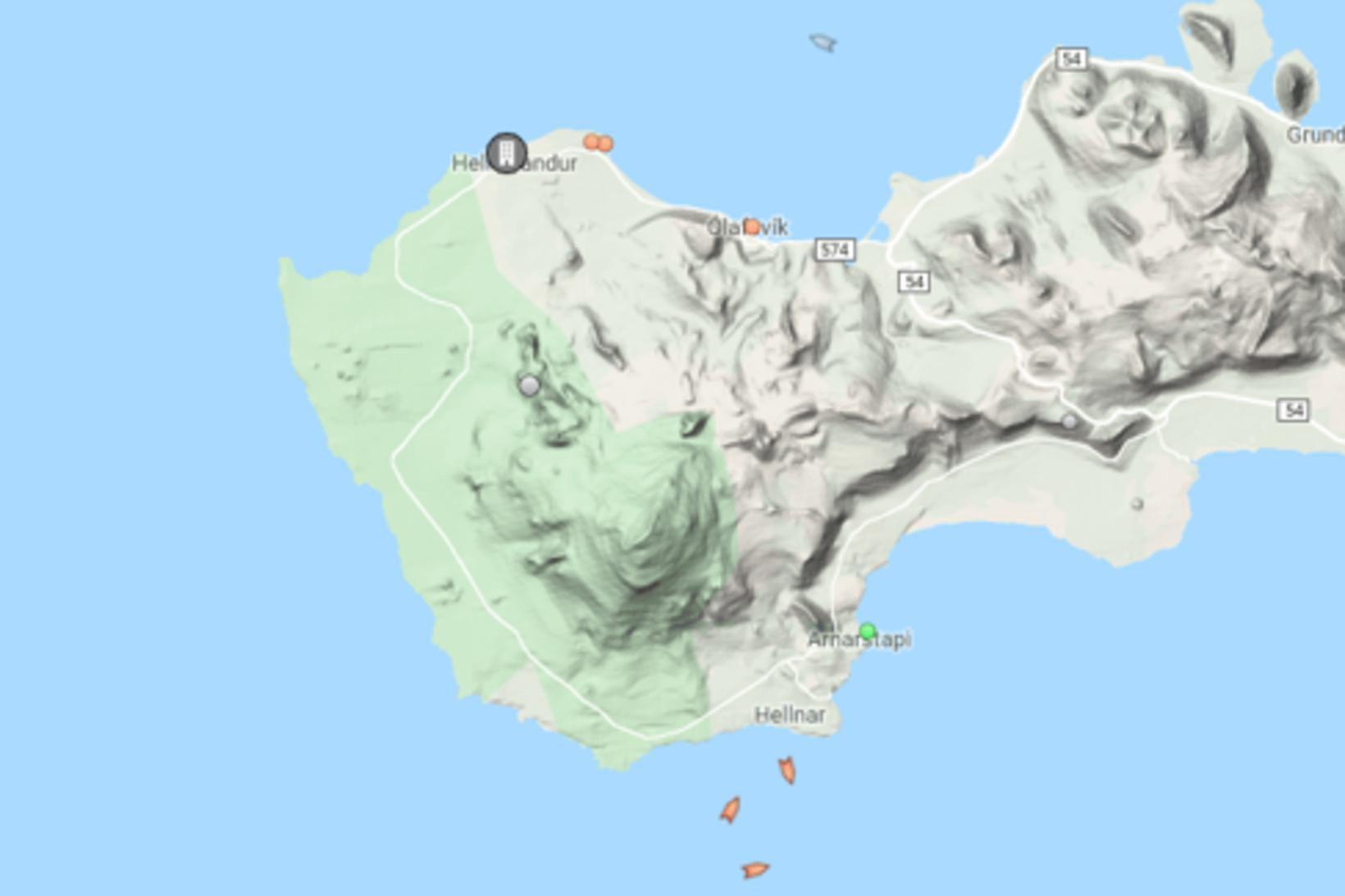 Þrír togarar eru sunnan við Snæfellsjökul þessa stundina.