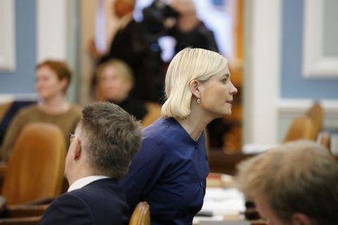 Lilja Alfreðsdóttir walks out today after a brief interchange with Gunnar Bragi Sveinsson.