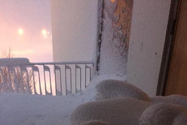 The balcony of the director of the town council Ásthildur Sturludóttir this morning.