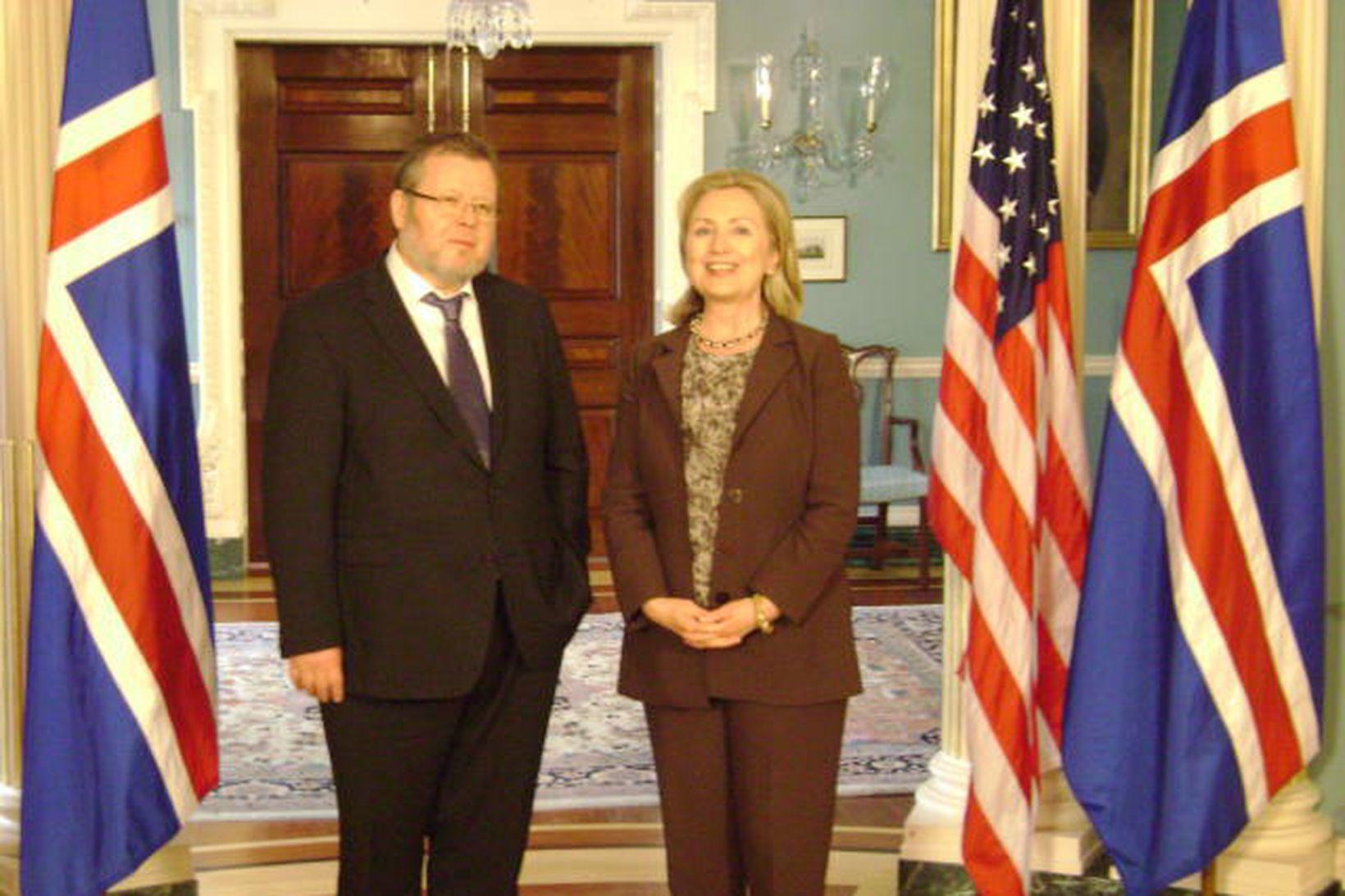 Össur Skarphéðinsson og Hillary Clinton í bandaríska utanríkisráðuneytinu í dag, …