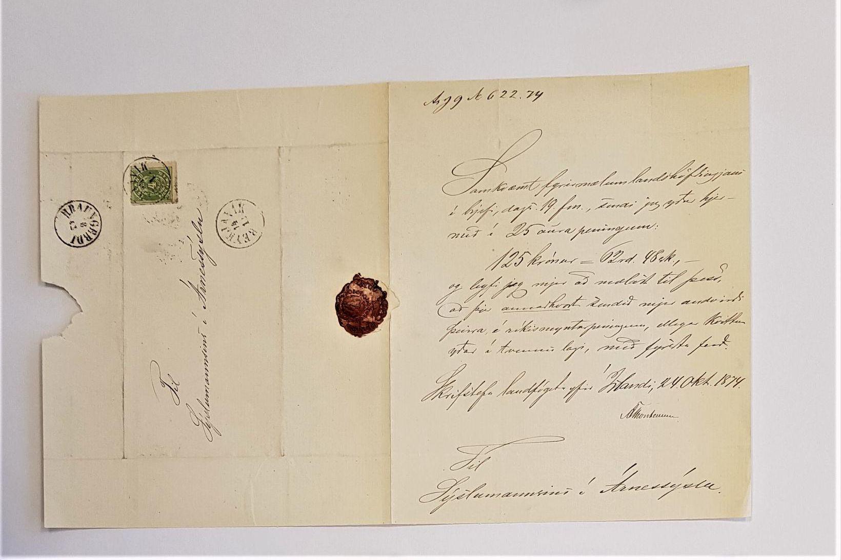 Hluti bréfs Landsfógeta til sýslumanns Árnessýslu frá árinu 1874.