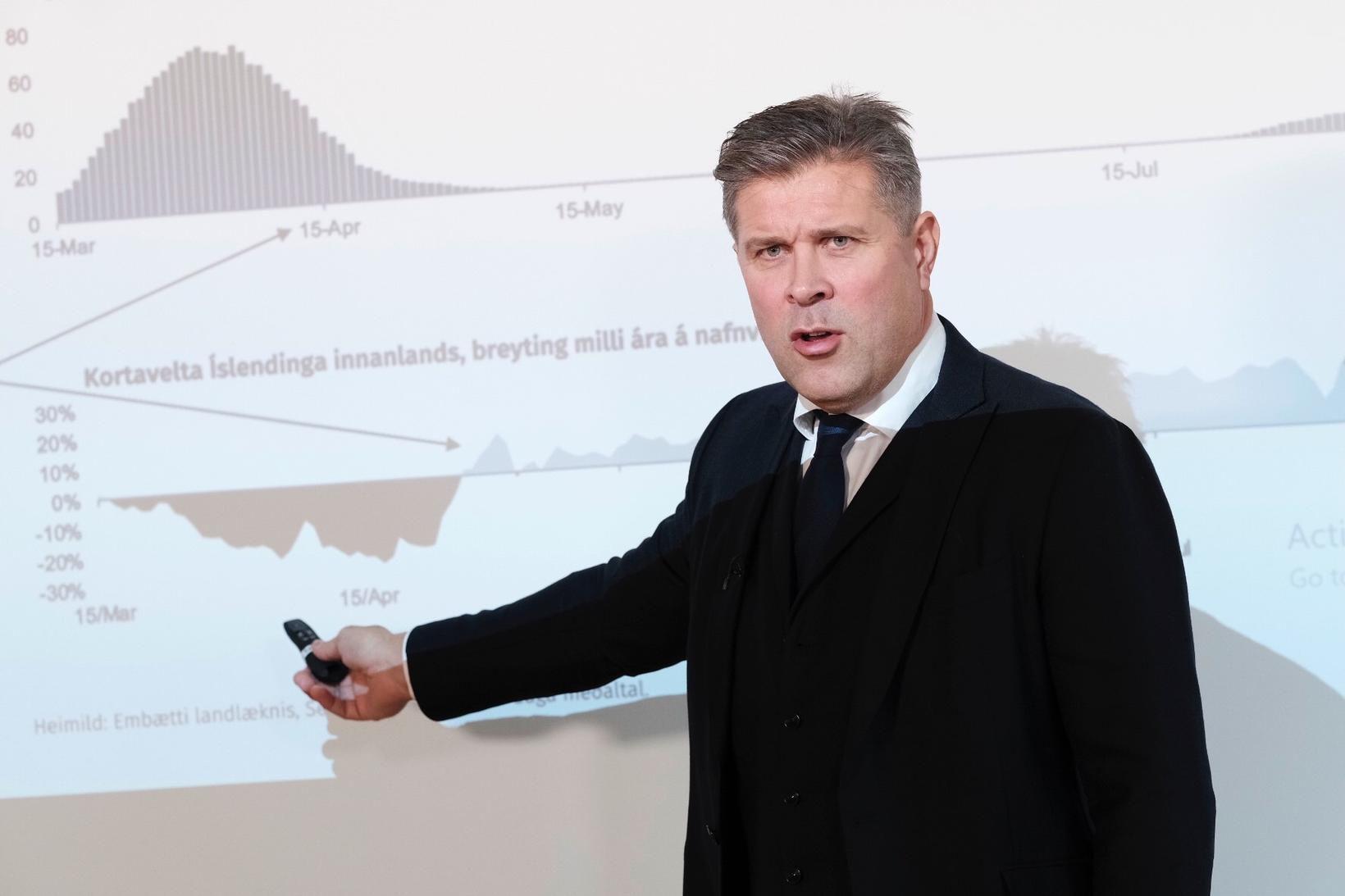 Bjarni Benediktsson fjármálaráðherra kynnti fjárlagafrumvarp ársins 2021 í dag.