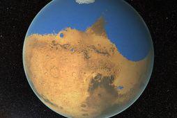 Vísindamenn NASA telja að í fyrndinni hafi verið meira vatn á Mars en í Norðuríshafinu …
