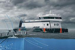 Tengiltvinn Nova 600-fóðurprammi er 30 metra langur og 12 m breiður. Fiskeldi Austfjarða fær í …