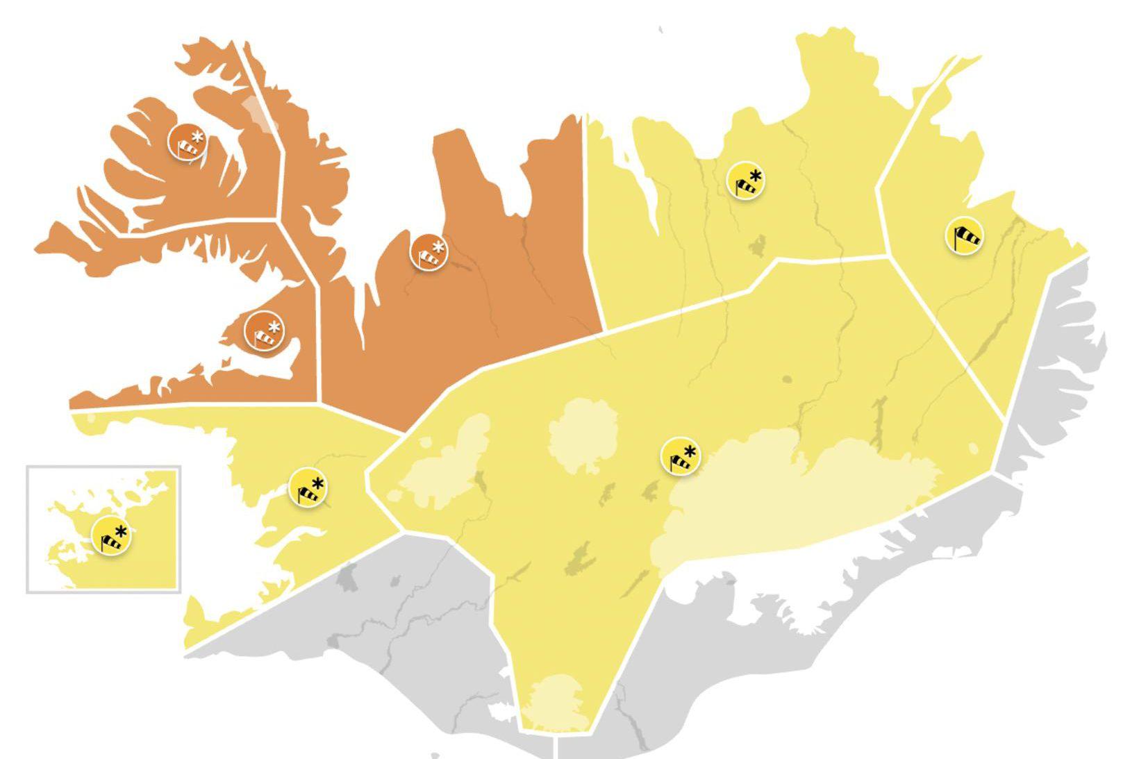 Veðurviðvaranir í gildi eins og staðan er núna.