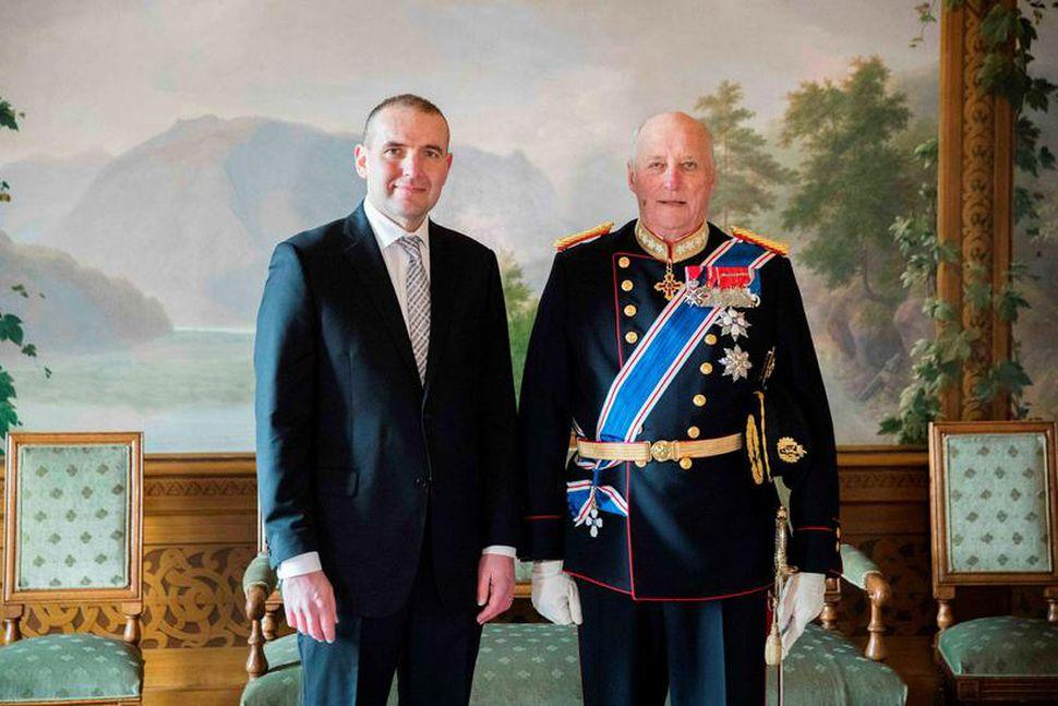 Guðni Th. Jóhannesson, forseti Íslands, ásamt Haraldi Noregskonungi.