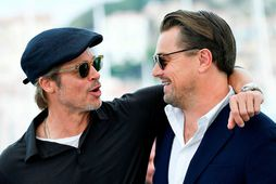 Brad Pitt og Leonardo DiCaprio í Cannes í maí.
