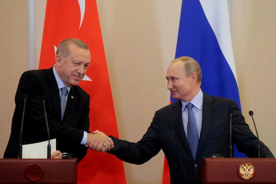 Recep Tayyip Erdogan, forseti Tyrklands, og Vladimír Pútín, forseti Rússlands, ...