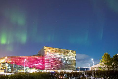 The light sequence in the glass facade of Harpa is changed every couple of months and is by artist Ólafur Elíasson, as is the glass facade of the award-winning building.