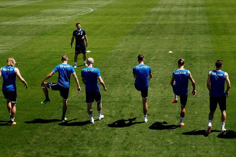 The boys in blue at practice in Kabardinka, Russia on Monday.