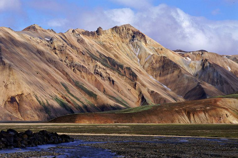 Landmannalaugar are a geothermal area very popular for tourists.