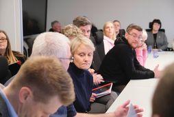 Sólveig Anna Jónsdóttir, leader of Efling union, center, at the meeting this morning.