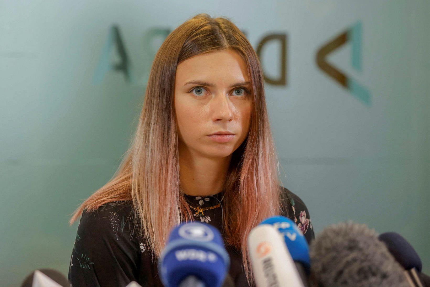 Krystsina Tsimanouskaya ávarpaði fjölmiðla í dag.