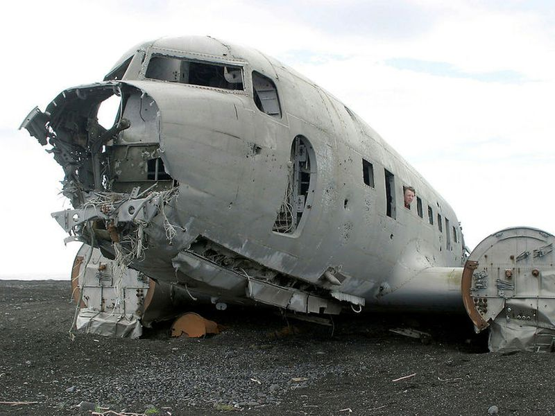 The Douglas Dakota DC-3 C 117 plane wreck at Sólheimasandur, a popular tourist attraction.