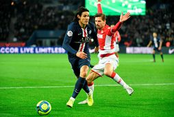 Edinson Cavani í leik með PSG gegn Mónakó í frönsku 1. deildinni.