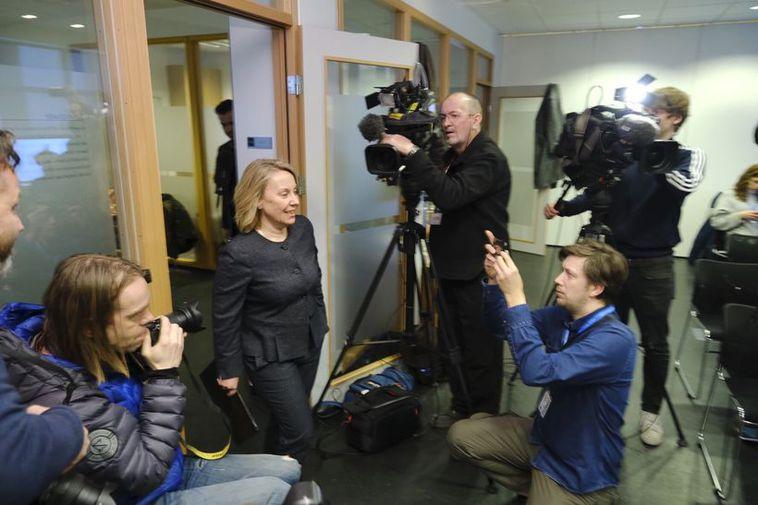 Sigríður Á. Andersen at the press meeting yesterday.