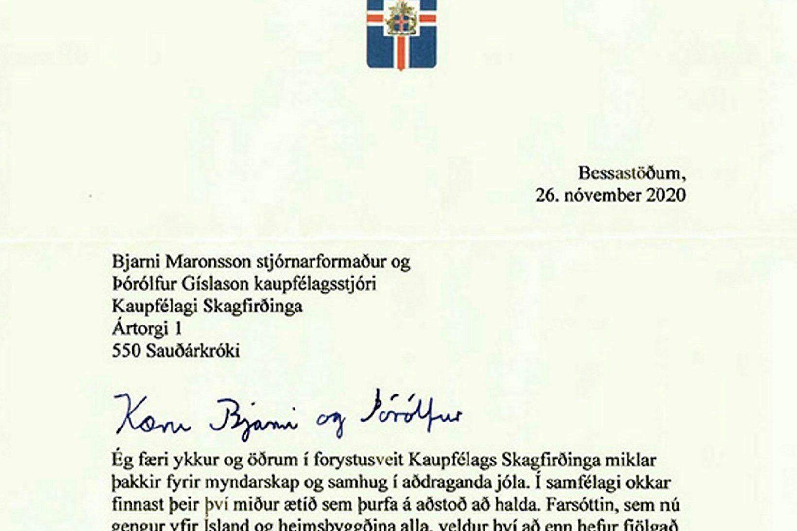 Þakkarbréf forseta til Kaupfélags Skagfirðinga og starfsmanna þess.