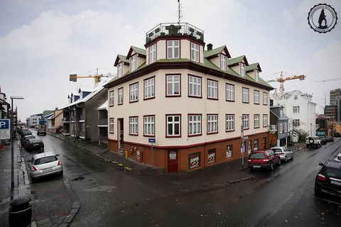 The flat is located inside this lovely building, perfectly located right next to Laugavegur shopping street.