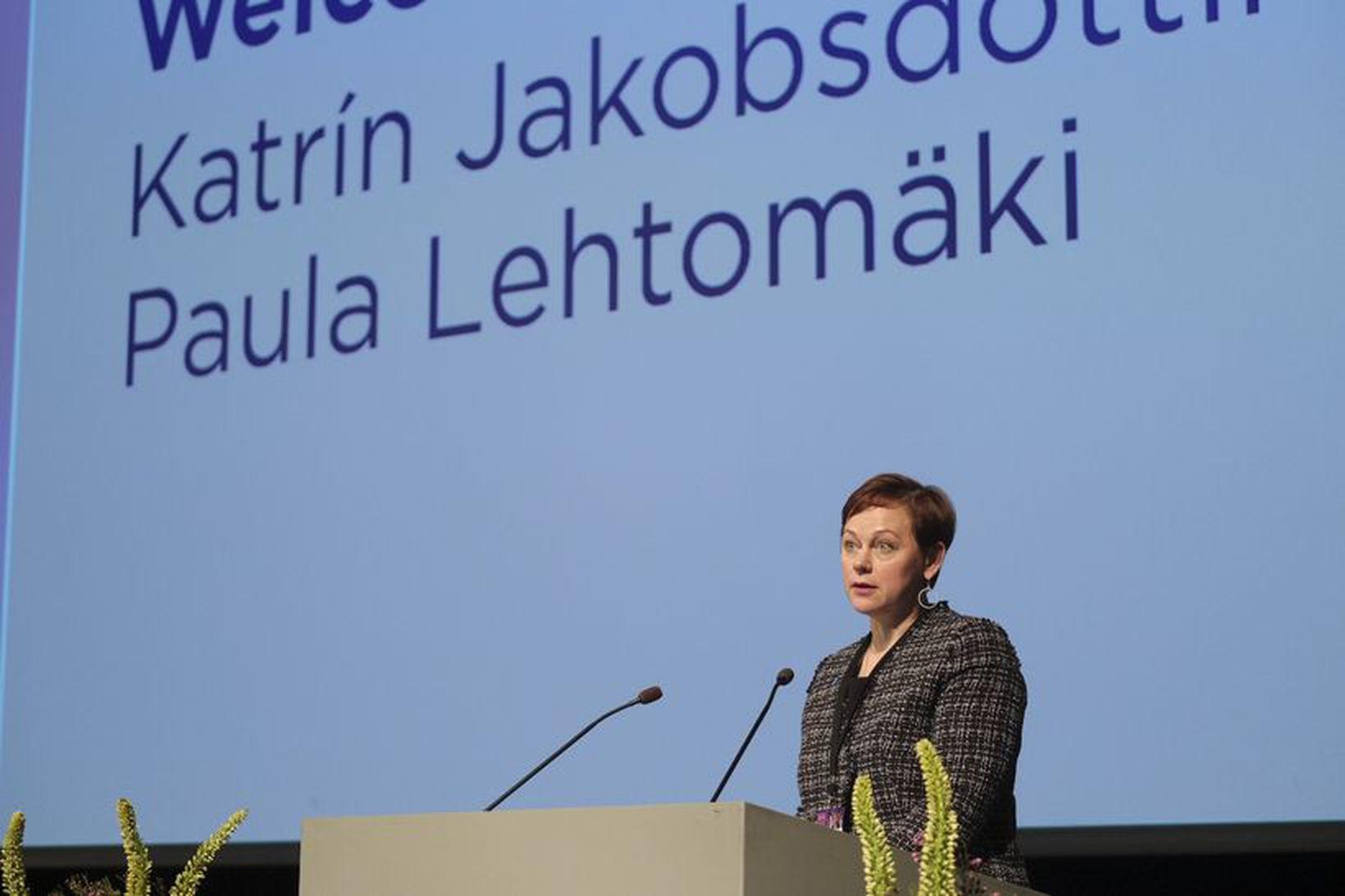 Paula Lethomäki, framkvæmdastjóri Norrænu ráðherranefndarinnar, flutti ávarp í Hörpu í …