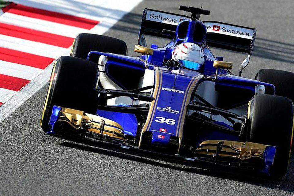 Antonio Giovinazzi við reynsluakstur fyrir Sauber í Barcelona 28. febrúar sl.
