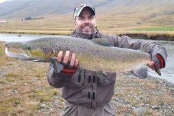 Sigurður Veigar með 101 sentímetra fisk sem hann veiddi í Grímsá í september 2019. Tveir …