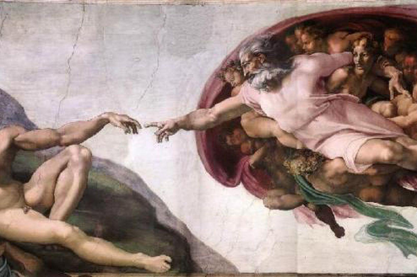 Málverk Michelangelos af sköpun Adams. 18% þátttakenda í könnuninni trúir …