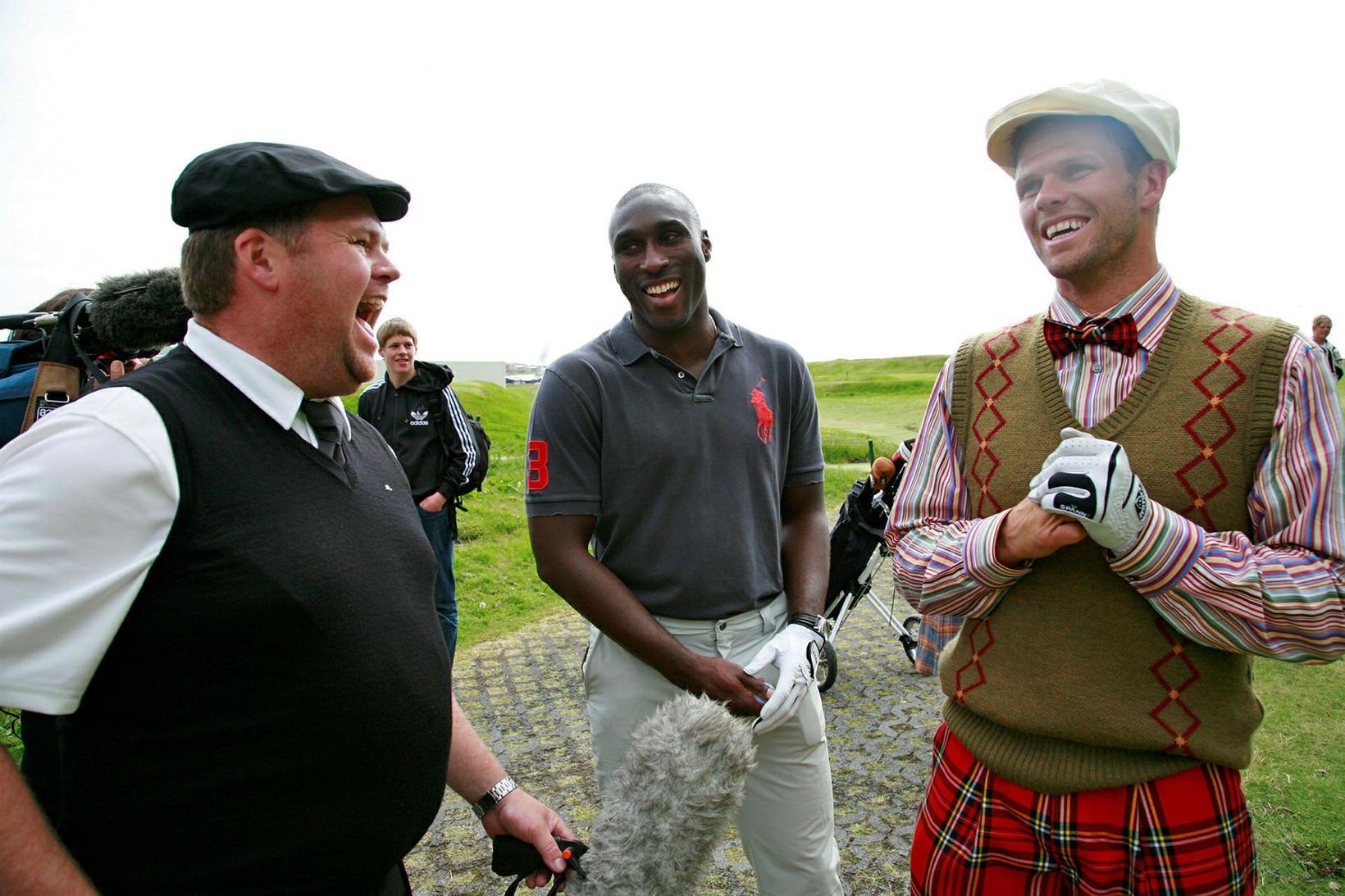 Sol Campbell og Hermann Hreiðarsson á golfmóti þess síðarnefnda, Herminator …