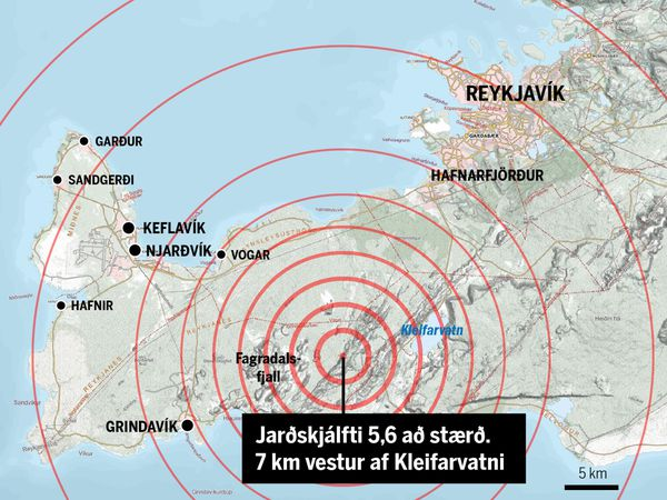 The map shows the source of the earthquake, 7 km west of Kleifarvatn lake.