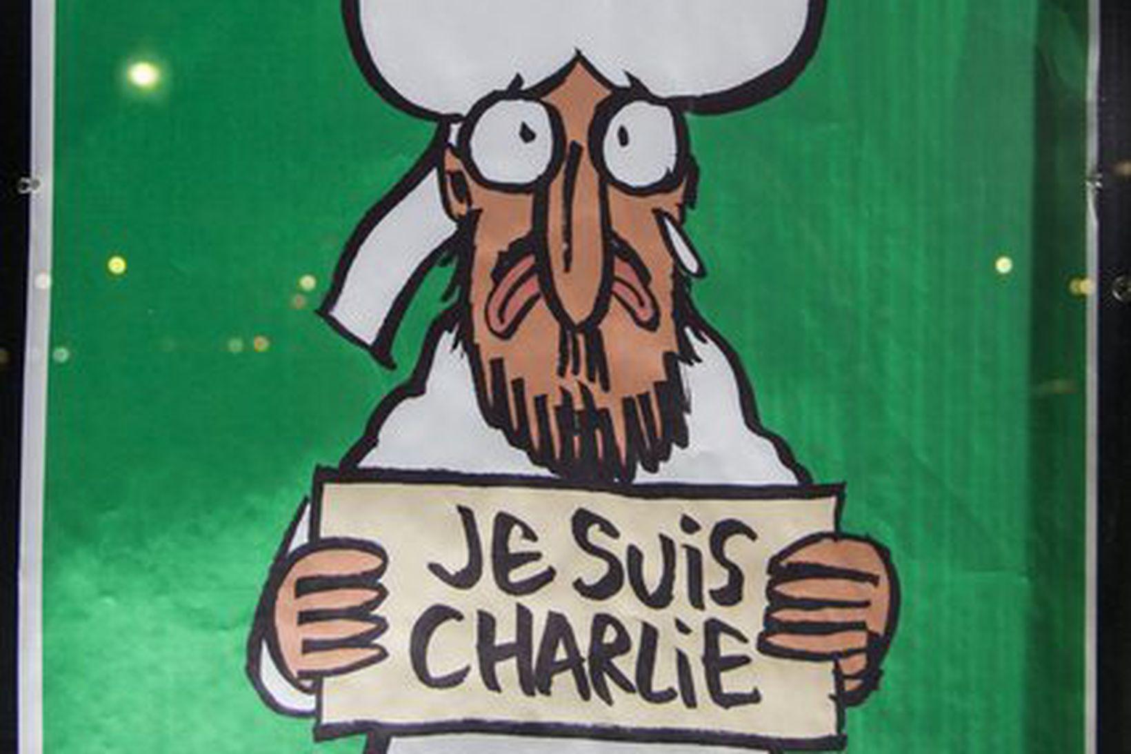 Forsíða Charlie Hebdo eftir árásina á ritstjórnarskrifstofur skopmyndablaðsins.