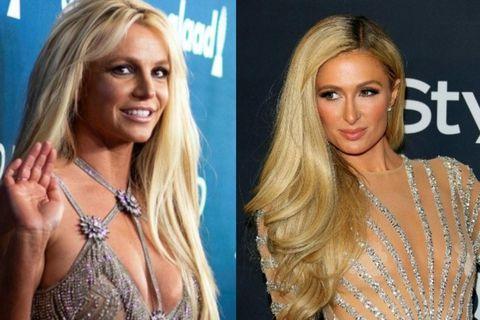 Paris Hilton stendur með vinkonu sinni Britney Spears.