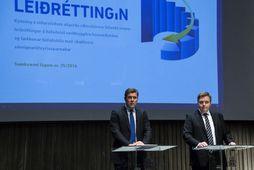 Bjarni Benediktsson og Sigmundur Davíð Gunnlaugsson við kynningu á skuldaleiðréttingu heimilanna í Hörpu.