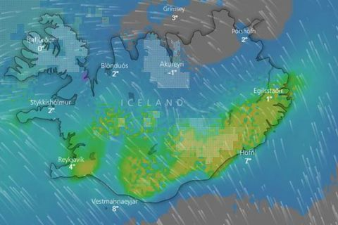 Rain and sleet for Iceland this afternoon.
