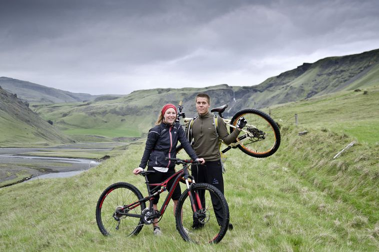 Rannveig and Mummi have found a way to combine sheep farming and mountain biking.