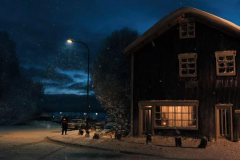 The house can be seen quite clearly in the opening scenes of the movie.