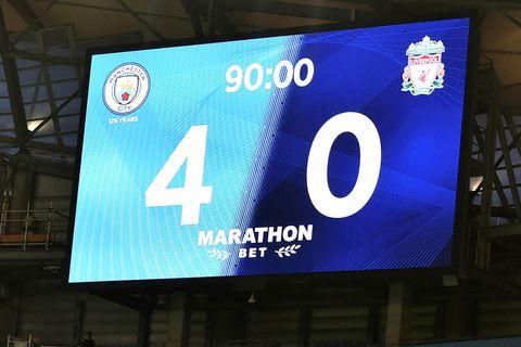 Manchester City vann stórsigur gegn Liverpool í ensku úrvalsdeildinni í gær.