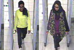 Kadiza Sultana, Amira Abase og Shamima Begum yfirgáfu Bretland 2015. Þær sjást hér fara í …