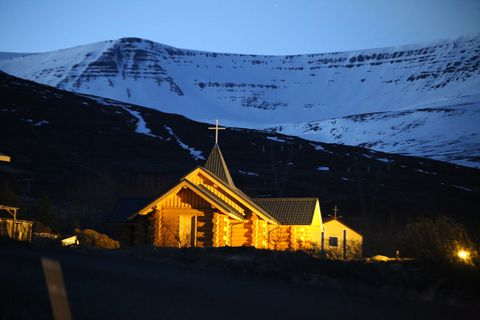 The church stands out as it's unlike most churches in Iceland.